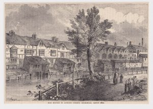 "Antique Print, ""Old Houses in London Street, Dockhead, about 1810"", 1890"