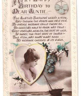 Vintage Postcard, Very Happy Birthday to Dear Auntie, 1908
