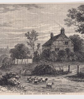 Antique Print, Sir Richard Steele's House, Haverstock Hill, 1880