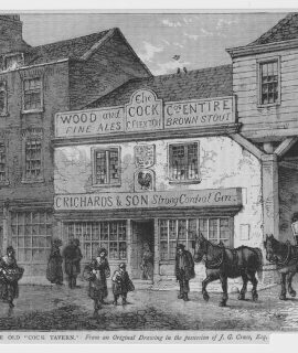 Antique Print, The Old Cock Tavern, 1890
