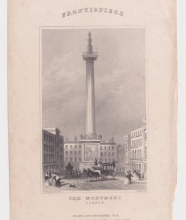 Antique Engraving Print, The Monument, London, 1830 ca.