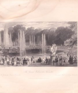 Antique Engraving Print, The Grand Waterworks, Versailles, 1835