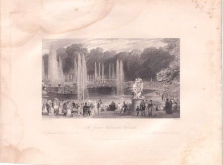Antique Engraving Print, The Grand Waterworks, Versailles, 1835
