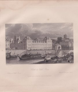 Antique Engraving Print, Hotel de Ville, Paris, 1835