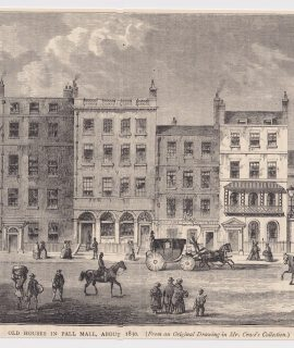 Antique Print, Old Houses in Pall Mall, 1880
