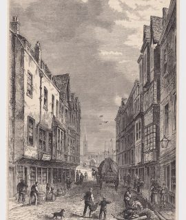 Antique Print, The Bridge-Foot, Southwark, 1880