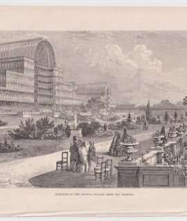 Antique Print, Exterior of the Crystal Palace, from the Terrace, 1890