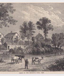 Antique Print, Farm in the Regents Park, 1880