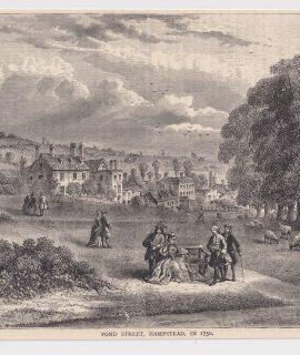 Antique Print, Pond Street, Hampstead, 1880