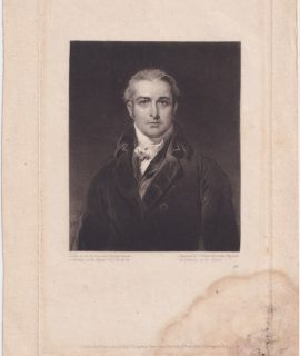 Antique Engraving Print, Portrait Mezzotinto, 1825