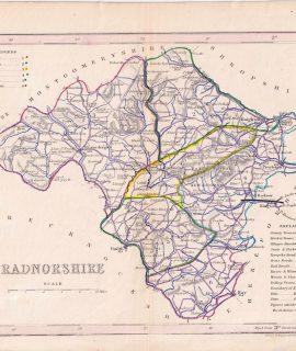 Antique Map, Radnorshire, 1850 ca.