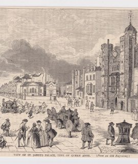 Antique Print, View of St. James's Palace, Time of Queen Anne, 1880