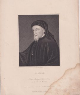 Antique Engraving Print, Chaucer, 1820