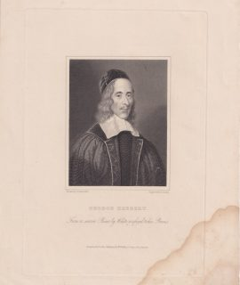 Antique Engraving Print, George Herbert, 1822