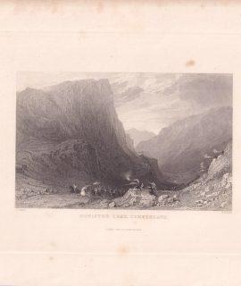 Antique Engraving Print, Honister Crag, Cumberland, 1834