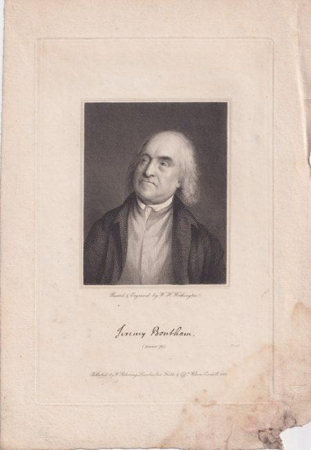 Antique Engraving Print, Jeremy Bentham, 1823