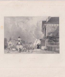 Antique Engraving Print, Epson, Surrey, 1850