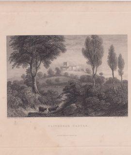 Antique Engraving Print, Clitheroe Castle, 1850