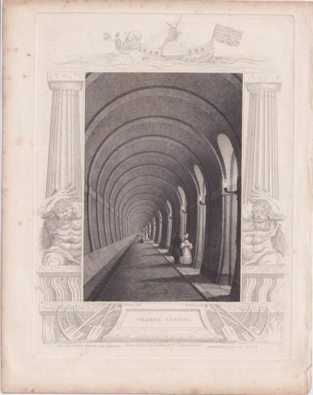 Rare Antique Engraving Print, Thames Tunnel, 1850 ca.