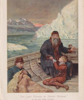 Antique Print, The Last Voyage of Henry Hudson, 1890