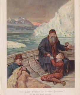 Antique Print, The Last Voyage of Henry Hudson, 1890