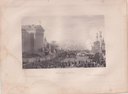 Antique Engraving Print, Funeral of Napoleon, 1840