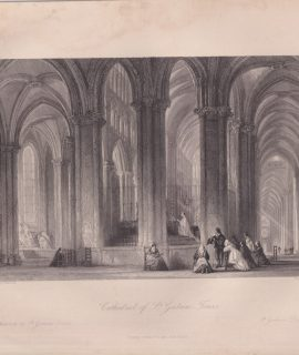 Antique Engraving Print, Cathedral of St. Gatien-Tours, 1840