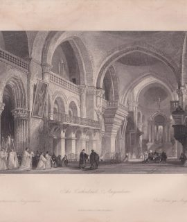Antique Engraving Print, The Cathedral, Angouleme, 1840