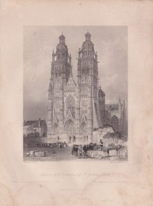 Antique Engraving Print, Exterior of the Cathedral of St. Gatien