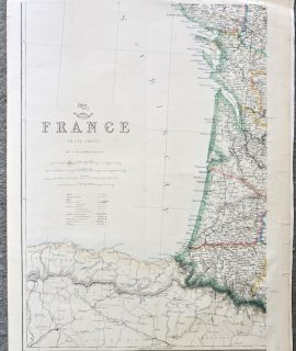 Antique Map, France, South West, 1859