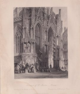 Antique Engraving Print, Fountain of St. Maclou, Rouen, 1840
