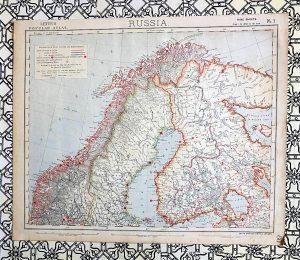 Antique map, Russia, Lett's Popular Atlas, 1881