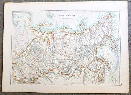 Antique Map, Russia in Asia, 1870 ca.