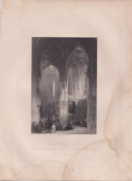 Antique Engraving Print, Church of St. Pierre, at Caen, 1840