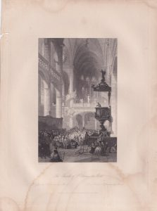 Antique Engraving Print, The Church of St. Etienne du Mont, 1840