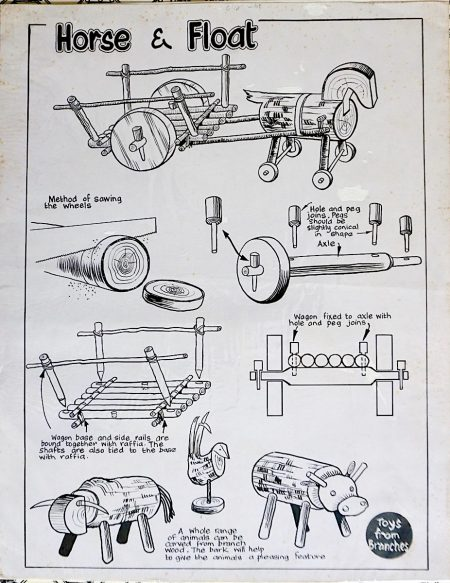 Rare Vintage Print, Horse e Float, Toys from Branches