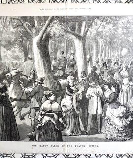 Antique Print, The Haupt Allee of the Prater, Vienna, 1873