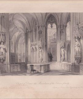 Antique Engraving Print, Chapel of Dreux..., 1840