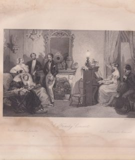 Antique Engraving Print, A Family Concert, 1840