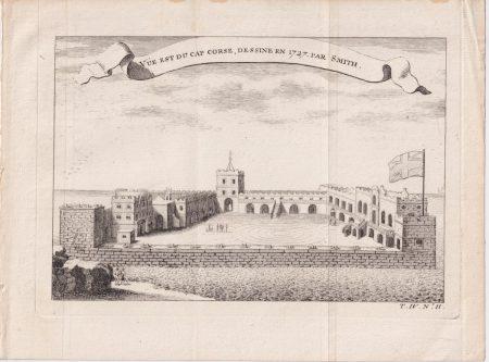 Antique Engraving Print, Vue est du Cap Course, Dessine 1727 par Smith
