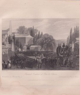 Antique Engraving Print, Funeral Oration at Père-la-Chaise, 1840