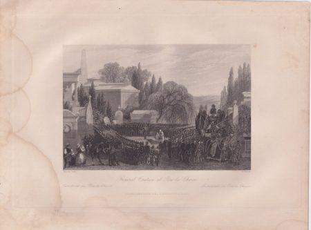 Antique Engraving Print, Funeral Oration at Père-la-Chaise, 1840