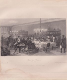 Antique Engraving Print, Hotel des Princes, 1840