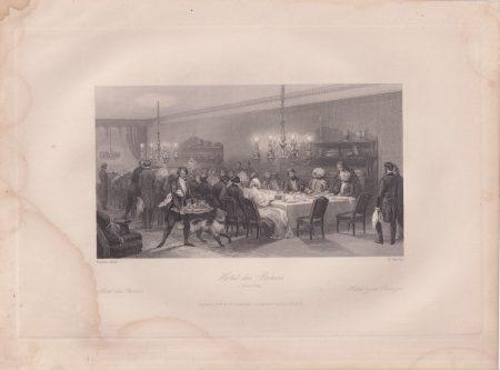 Antique Engraving Print, Hotel des Princes, 1840