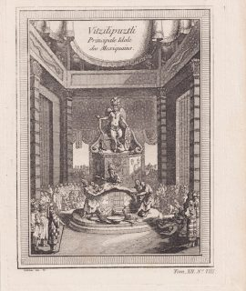 Rare Antique Engraving Print, Vitzilipuztli, 1750