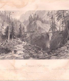 Antique Engraving Print, Pont d'Espagne, 1840