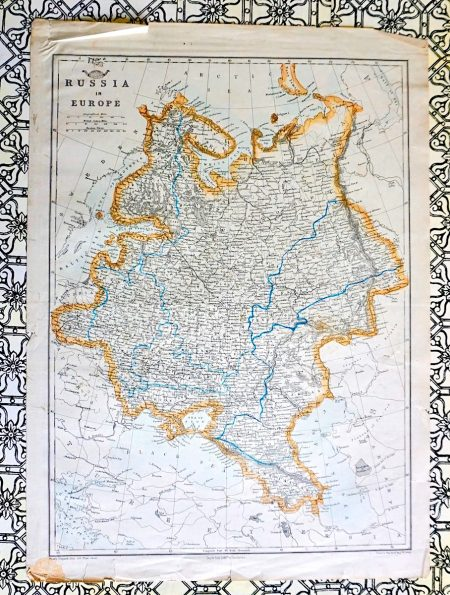 Antique Map, Russia in Europe, 1850 ca.