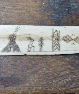 Antique Whale Bone Handmade Scrimshaw Sami Knife