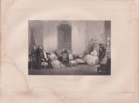 Antique Engraving Print, A Parisian Family, 1840