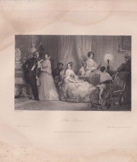 Antique Engraving Print, The Soirée, 1840